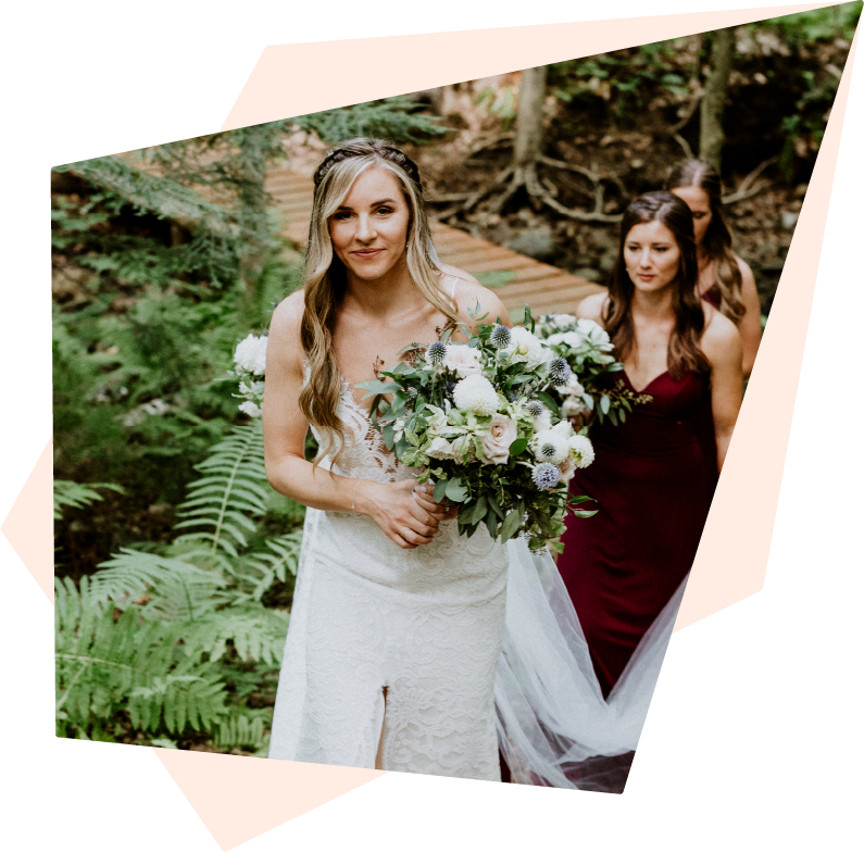 Pärla Hair - Bridesmaid helping bride up stairs down style braids boho outdoor forest