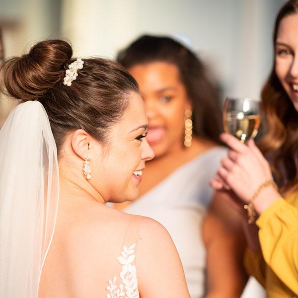 Ottawa Wedding Hair Testimonial - Emma F bridal bun updo veil chignon pearl bridal comb