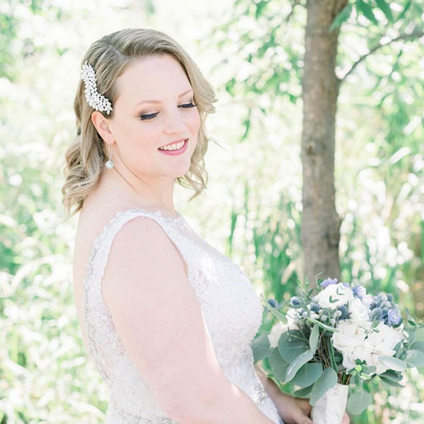 Ottawa Wedding Hair Testimonial - Steph W hair comb blonde bridal short hair curls